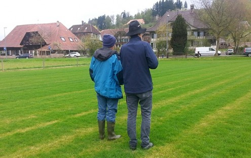 Die Hauert Rasenspezialisten beim Bonitieren des Rasens